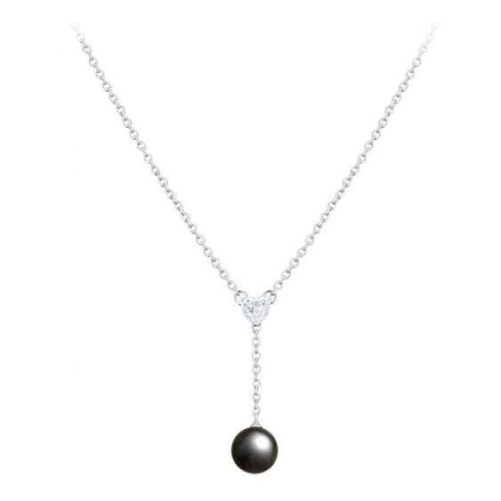 Collier pendant Elsa Lee Paris, collection Perles, en argent massif avec perle grise et oxydes de Zirconium