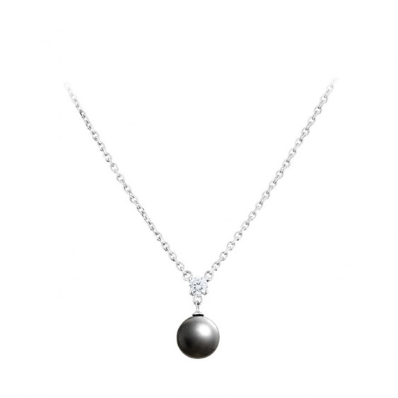 Elsa Lee Paris fine 925 sterling silver necklace with one grey pearl and one clear Cubic Zirconia