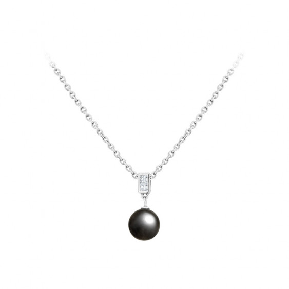 Elsa Lee Paris fine 925 sterling silver necklace with one grey pearl and two clear Cubic Zirconia