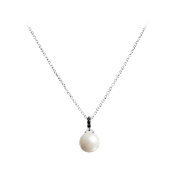 Elsa Lee Paris sterling silver necklace with 3 black Cubic Zirconia and 1 white pearl