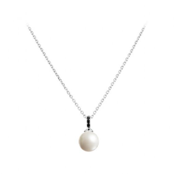 Collier Elsa Lee Paris en argent 925 avec oxydes de Zirconium noirs et perle blanche
