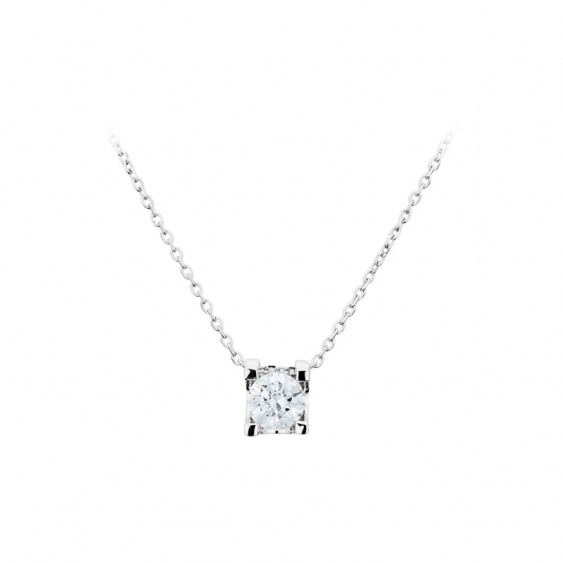Collier Elsa Lee Paris, collection Tradition, chaîne en argent avec un oxyde de Zirconium blanc serti griffe
