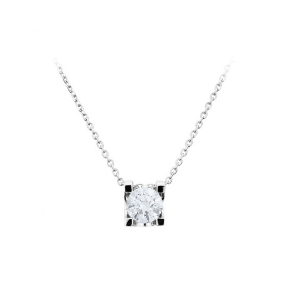 Collier Elsa Lee Paris, collection Tradition, chaîne en argent massif et pendant oxyde de Zirconium blanc serti griffe