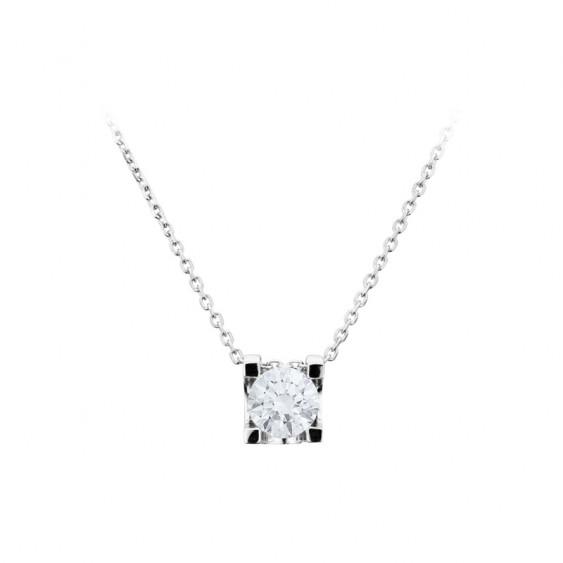 Collier Elsa Lee Paris, collection Tradition, chaîne en argent massif et pendant oxyde de Zirconium blanc serti griffe