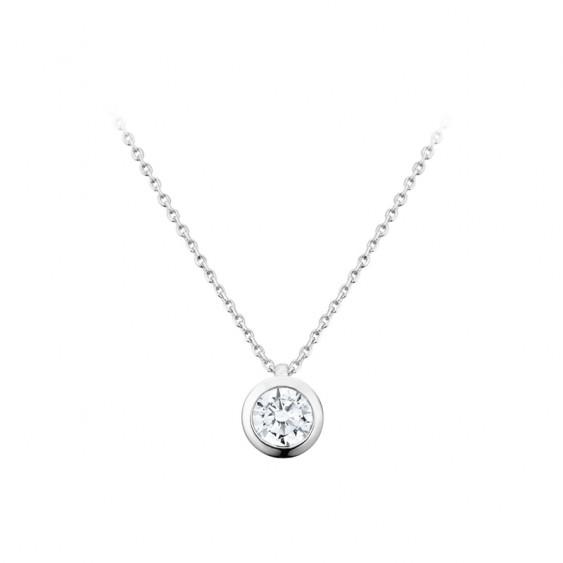 Elsa Lee Paris sterling silver necklace - one close set diamond cut Cubic Zirconia