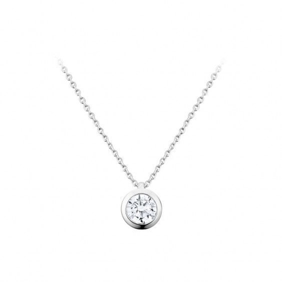 Elsa Lee Paris sterling silver necklace - one close set diamond cut Cubic Zirconia