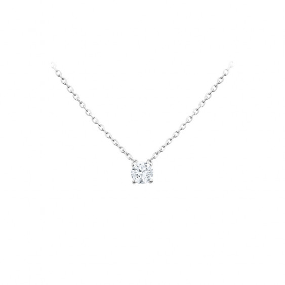 Elsa Lee Paris sterling silver necklace - one claws set diamond cut Cubic Zirconia