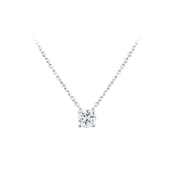 Elsa Lee Paris sterling silver necklace - one claws set diamond cut Cubic Zirconia