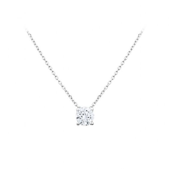 Collier Elsa Lee Paris, collection Tradition, chaîne en argent massif, pendentif oxyde de Zirconium blanc rond serti griffe