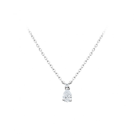 Collier Elsa Lee Paris, collection Tradition, chaîne en argent 925, pendentif oxyde de Zirconium solitaire taille poire serti gr