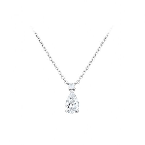 Collier Elsa Lee Paris, collection Tradition, chaîne en argent 925 et pendentif oxyde de Zirconium blanc taille poire serti grif