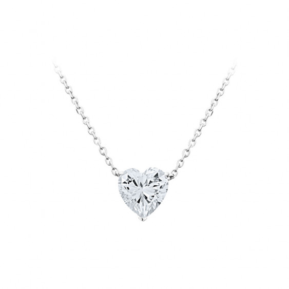 Elsa Lee Paris sterling silver necklace - one claws set heart shaped Cubic Zirconia