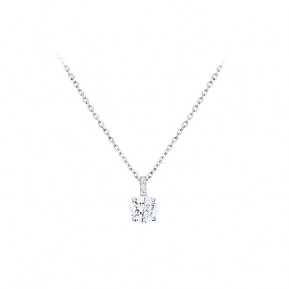 Elsa Lee Paris fine 925 sterling silver necklace - one silver chain, one claws set diamond cut Cubic Zirconia