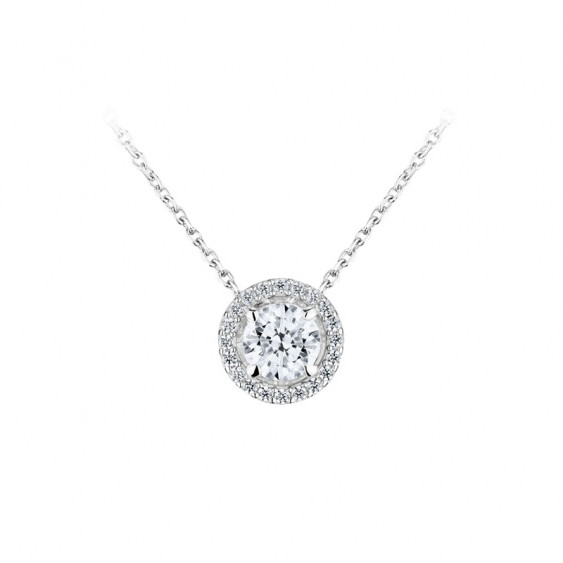 Elsa Lee Paris fine 925 sterling silver necklace - one claws set diamond cut Cubic Zirconia and its crown of sparkling stones