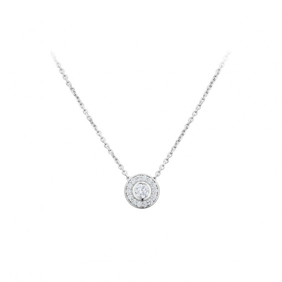 Elsa Lee Paris fine 925 sterling silver necklace - one silver chain, one close set diamond cut Cubic Zirconia and its crown of s