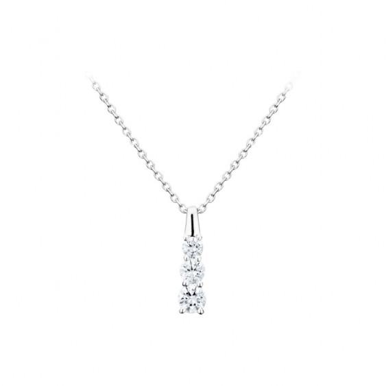 Collier collection Tradition Elsa Lee, chaîne en argent 925, troix oxydes de Zirconium blancs sur le pendentif