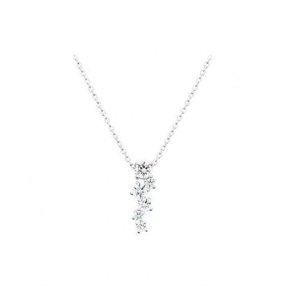 Collier collection Tradition Elsa Lee, chaîne en argent 925, 6 oxydes de Zirconium blancs sur le pendentif