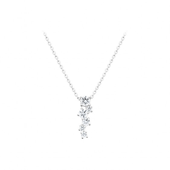 Elsa Lee Paris fine 925 sterling silver necklace - one silver chain, 6 claws set diamond cut Cubic Zirconia