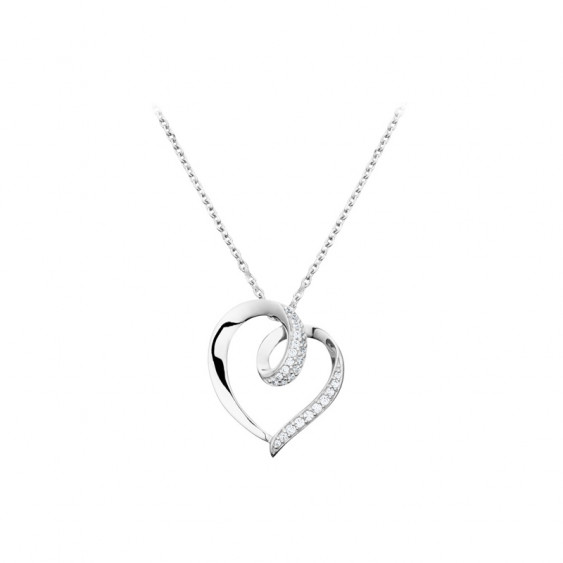 Elsa Lee Paris sterling silver necklace with a heart shape pendant and clear Cubic Zirconia