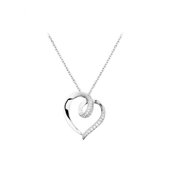 Collier en argent 925 Elsa Lee Paris, motif coeur en argent parsemé d'oxydes de Zirconium blancs