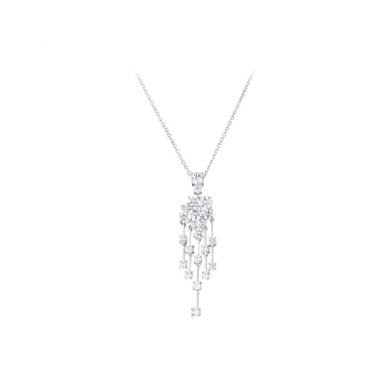 Elsa Lee Paris sterling silver necklace with flower shape pendant and clear Cubic Zirconia