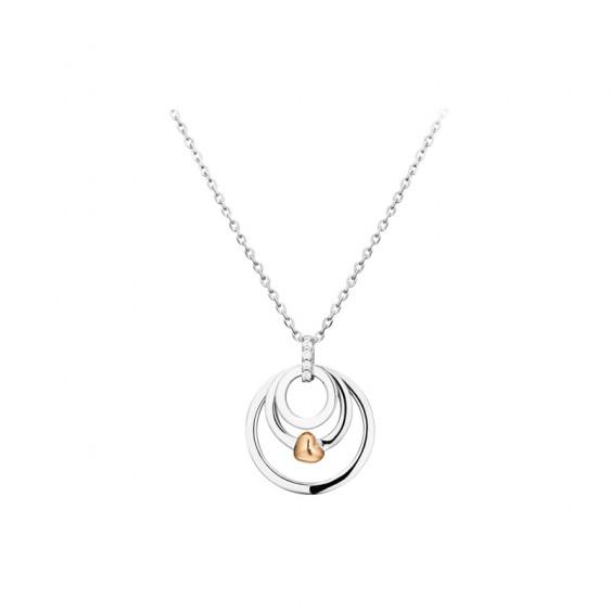 Collier Elsa Lee Paris, collection tendance, en argent 925, motif trois anneaux et petit coeur rhodié rose