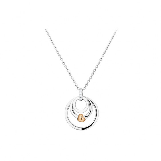 Elsa Lee Paris sterling silver necklace with pink rhodium-plating heart, silver circles and 4 Cubic Zirconia