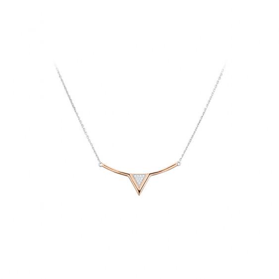 Collier Eden chaîne et argent rhodié rose Elsa Lee Paris, collection tendance, motif triangle