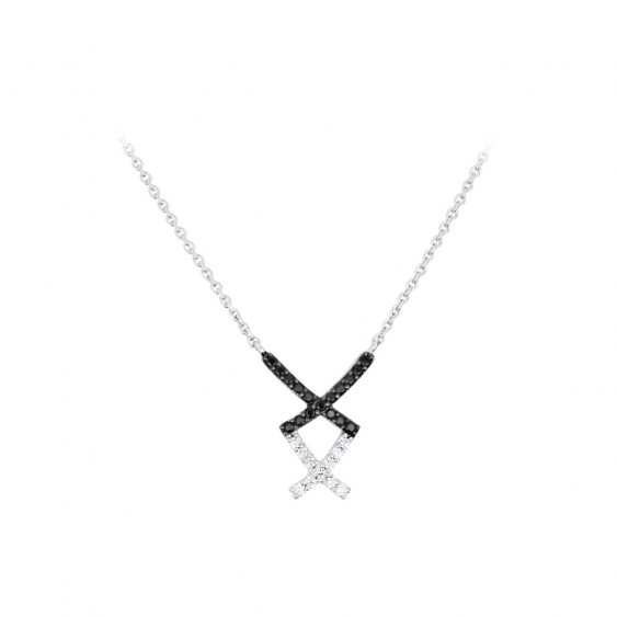 Elsa Lee Paris fine 925 sterling silver necklace with a cross shape and black and clear Cubic Zirconia