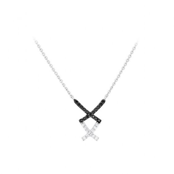 Collier croix noir et blanc en argent 925 par Elsa Lee - Collier noir et blanc croix