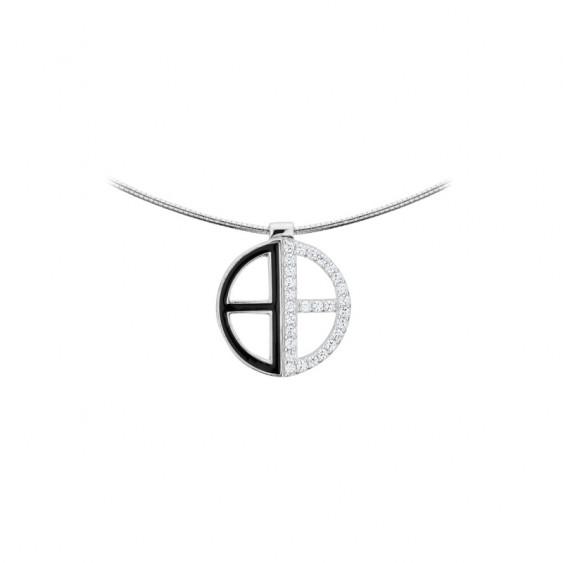 Collier rigide Elsa Lee Paris en argent 925, collection Tendance, pendant forme ronde avec croix, pavé d'émail noir et d'oxydes