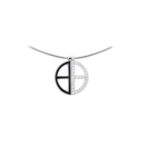 Elsa Lee Paris fine 925 sterling silver necklace - black enamel and 28 clear Cubic Zirconia