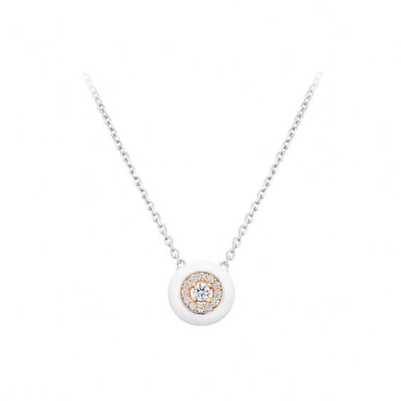 Collier Elsa Lee Paris, collection tendance, en argent 925, motif rond en émail blanc rhodié rose et oxydes de ZIrconium blancs