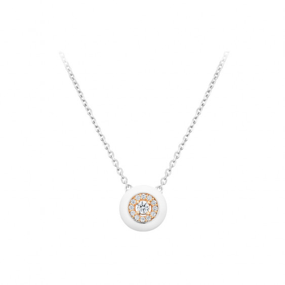 Elsa Lee Paris fine 925 sterling silver necklace - white enamel pendant, pink rhodium-plating and 13 clear Cubic Zirconia
