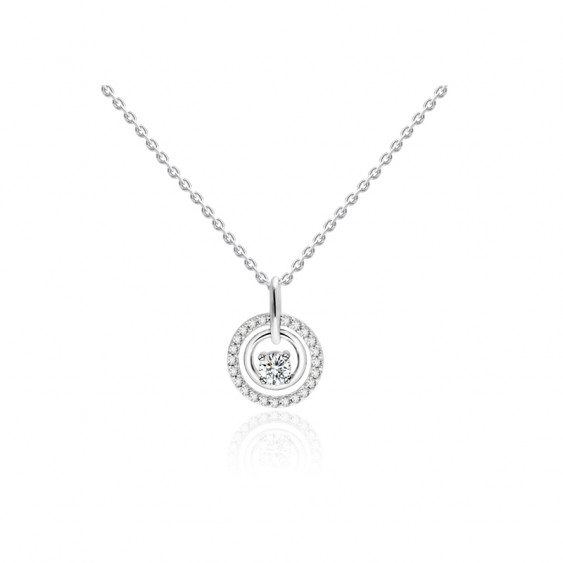 Elsa Lee Paris fine 925 sterling silver necklace -one silver chain, 1 claws set diamond cut Cubic Zirconia 4mm and its crown of