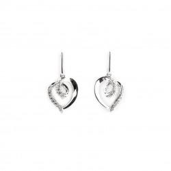 Boucles d'oreilles pendantes en argent 925 motif coeur et serti d'oxydes de Zirconium
