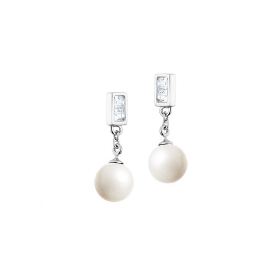 Elsa Lee Paris Silver Sterling Earrings with white pearls and 4 cubics zirconia