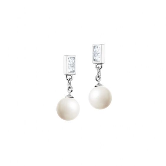 """Boucles d'oreilles Elsa Lee Paris en """"Argent 925"""", pendantes, - 2 perles blanches accompagnées de 4 oxydes de Zirconium"""