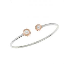 Bracelet jonc Elsa Lee Paris, collection Memory en argent massif, deux perles blanches 6mm et socles rhodiés rose