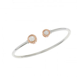 Elsa Lee Paris sterling silver bracelet from our Memory collection, with pink rhodium-plating and white pearls