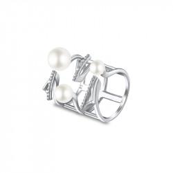 Bague Elsa Lee Paris, collection Céleste en argent 925, design large avec trois perles blanches et oxydes de Zirconium