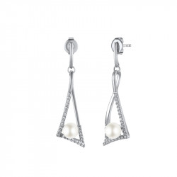 Boucles d'oreilles Elsa Lee Paris, collection Céleste en argent 925, monture en triangle incrustée d'oxydes de Zirconium et perl