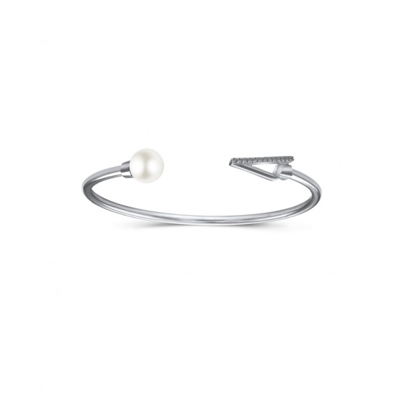 Bracelet jonc Elsa Lee Paris, collection Céleste, avec perle blanche et oxydes de Zirconium