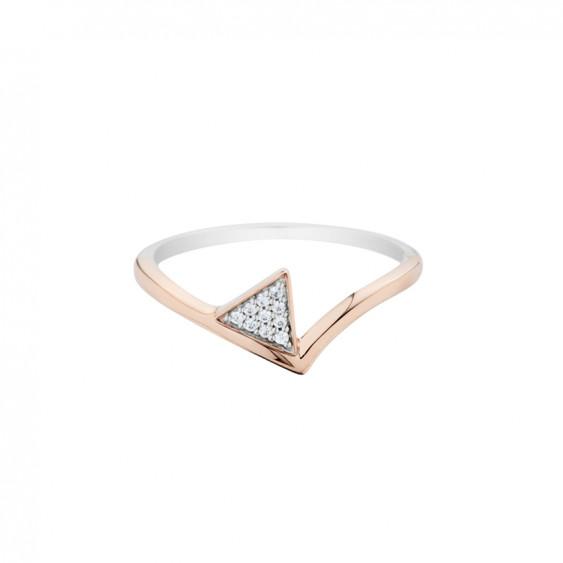 Elsa Lee bague Triangle, argent 925, rhodié, flash Rosé, oxyde de zirconium
