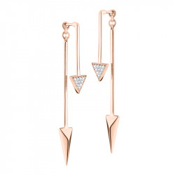 Elsa Lee Paris modern silver pink rhodium coated earrings, modern 2 in 1 design