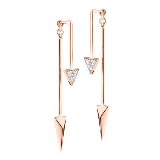 Elsa Lee Paris modern silver pink rhodium coated earrings, modern 2 in 1 design
