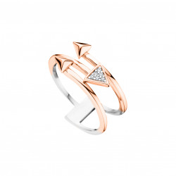 Sterling silver ring By Elsa Lee Paris, pink rhodium coated, arrow shaped design