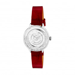 Elsa Lee Paris watch made for women, with a white dial, a silver case filled up with Cubic Zirconia and a purple leather strap