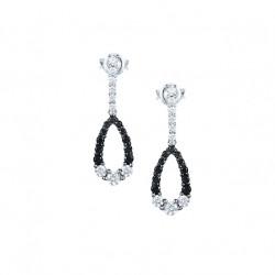 Boucles d'Oreilles pendantes Elsa Lee Paris en argent 925. Motif oval incrusté d'oxydes de Zirconium noirs et blancs