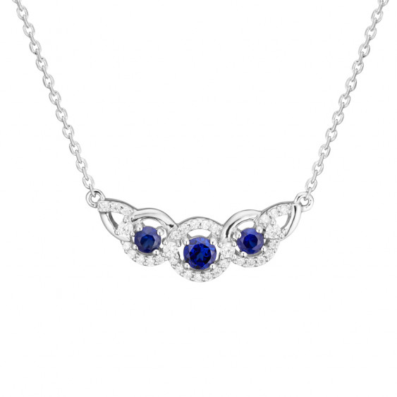Sapphire Necklace in silver sterling, rhodium coating and cubics zirconia